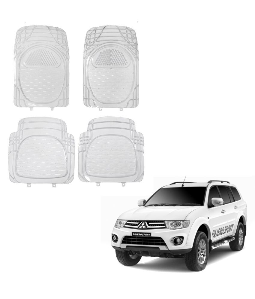 Auto Addict Car Rubber PVC Car Mat 6204 Foot Mats Clear Color Set of 4 pcs For Mitsubishi Pajero Sport
