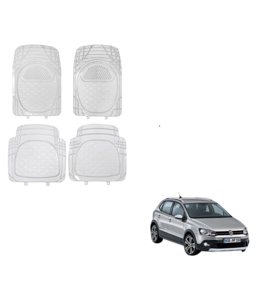 Auto Addict Car Rubber PVC Car Mat 6204 Foot Mats Clear Color Set of 4 pcs For Volkswagen Polo Cross