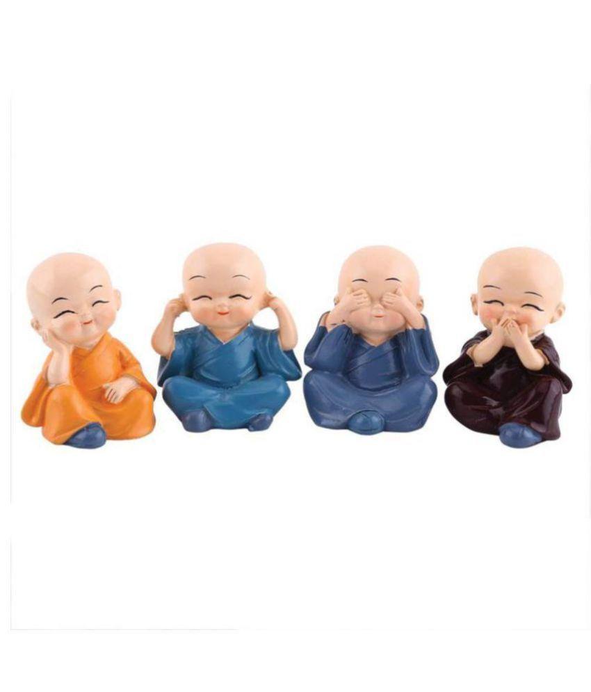 SHRI SHAKTI BABY MONK SET OF 4 Resin Buddha Idol 4 x 4 cms Pack of 4