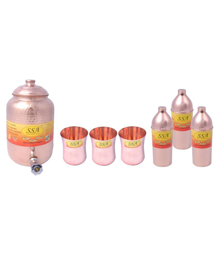 Shiv Shakti Arts Pot Glass Bottle Set 7 Pcs Lemon set