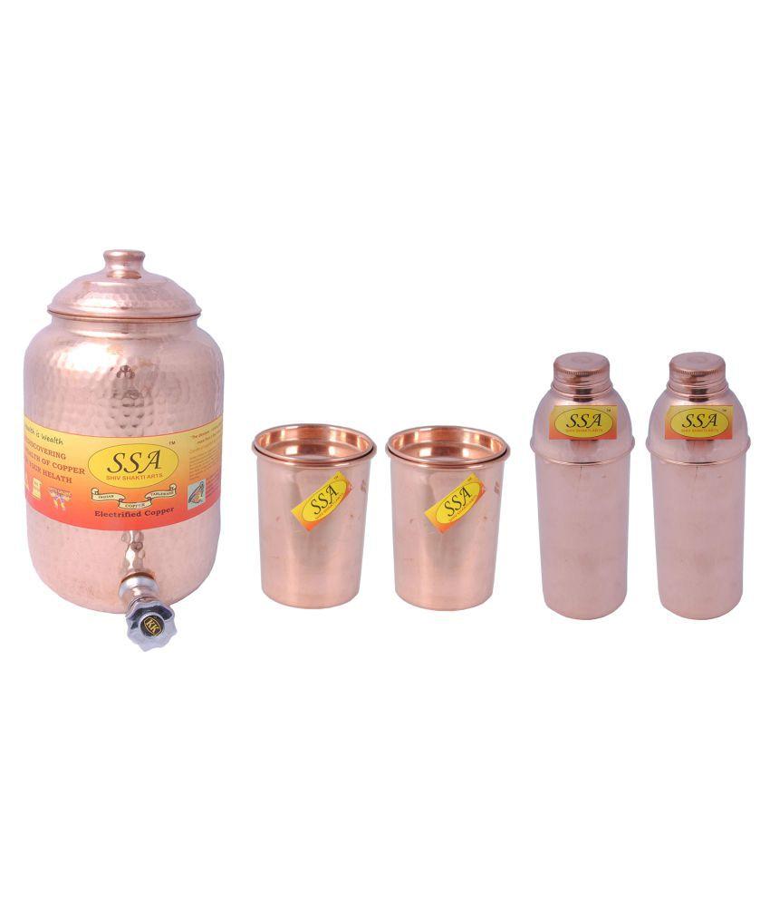 Shiv Shakti Arts Pot Glass Bottle Set 5 Pcs Lemon set