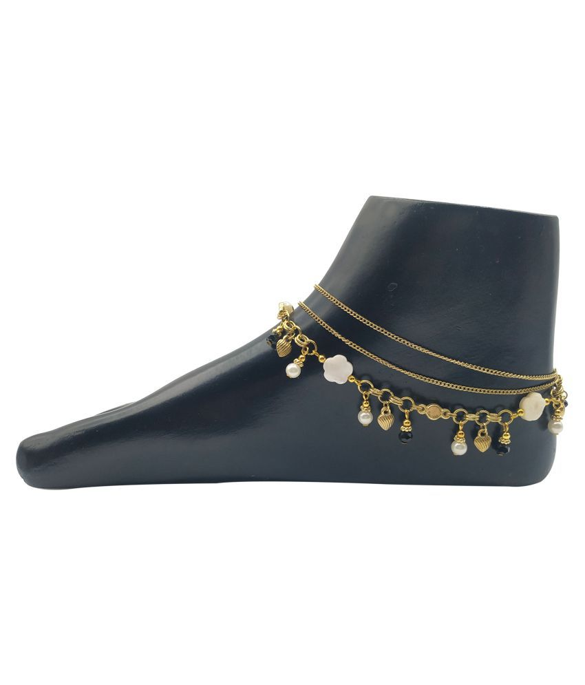 Hand made 3 Layer Gold plated metal chain Anklet For Girls.