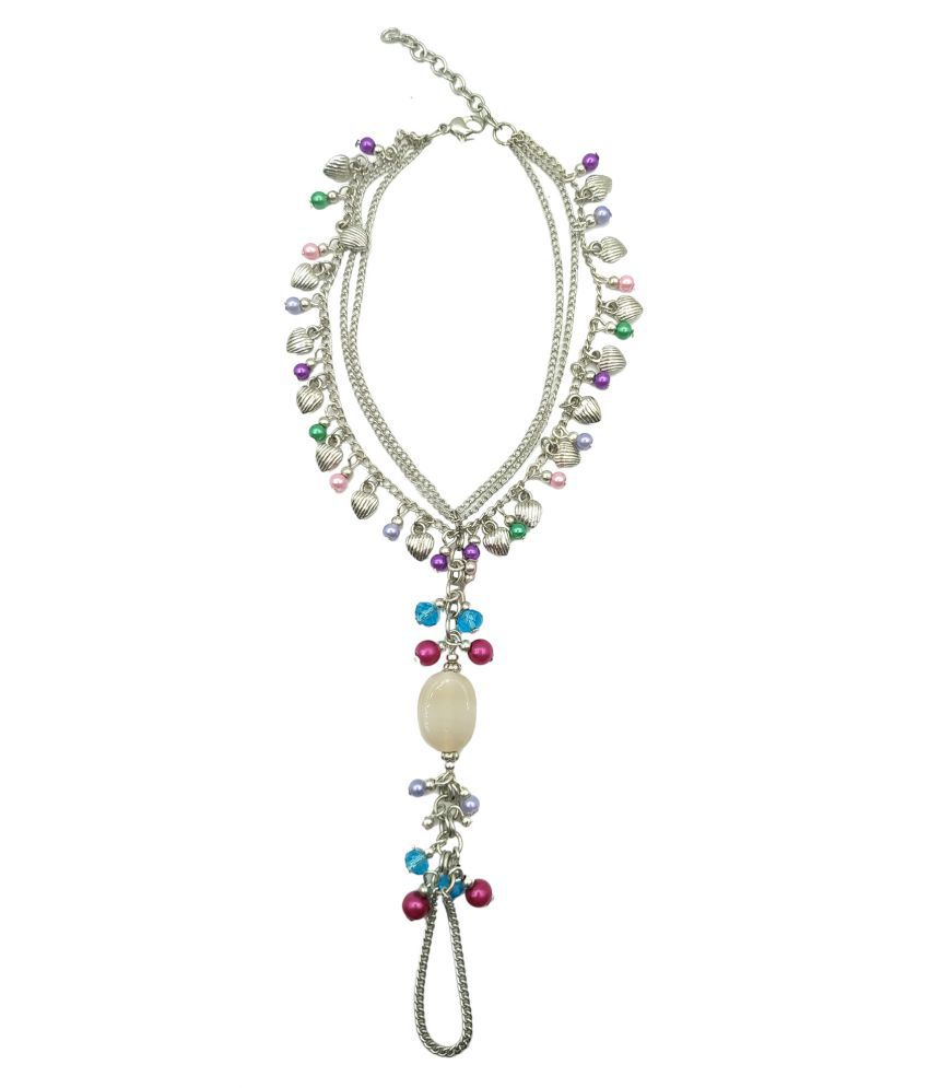 Zurii Hand Barefoot multi charms and Silver plated Toe Anklet women.