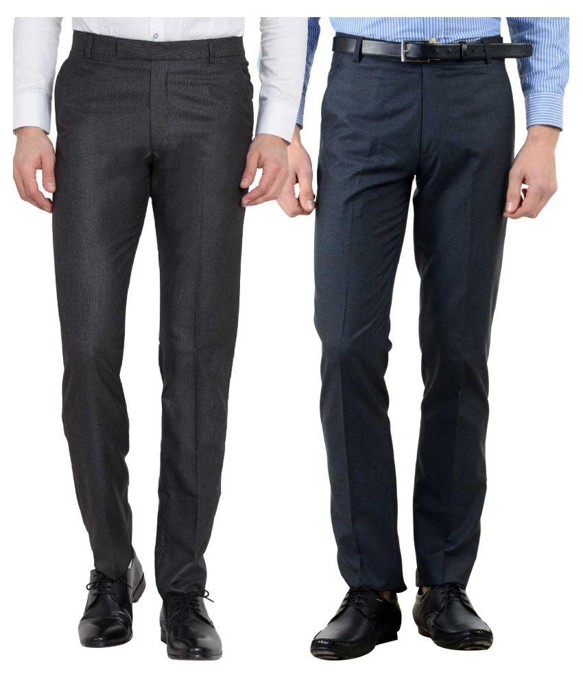 Haoser Multicolored Slim -Fit Flat Trousers