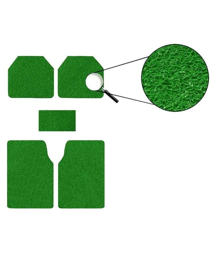 Autofetch Car Anti Slip Noodle Floor Mats (Set of 5) Green for Volkswagen Cross Polo [2014-2015]