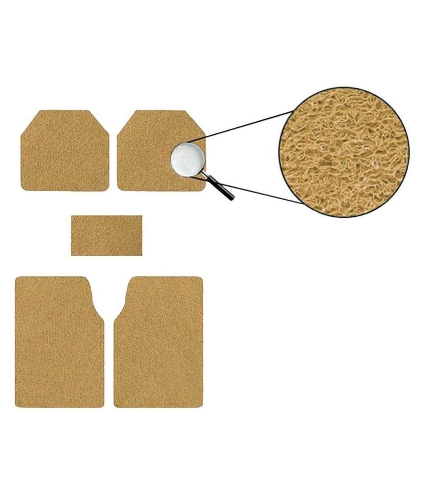 Autofetch Car Anti Slip Noodle Floor Mats (Set of 5) Beige for Honda Jazz 2015