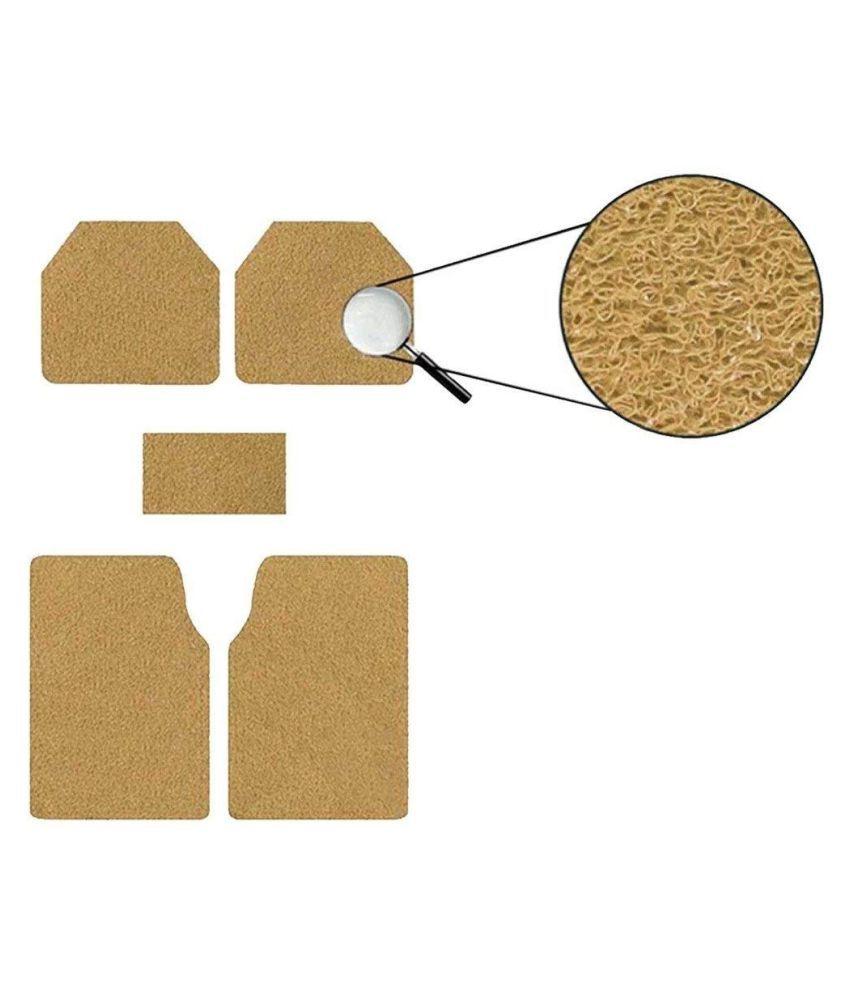 Autofetch Car Anti Slip Noodle Floor Mats (Set of 5) Beige for Toyota Etios