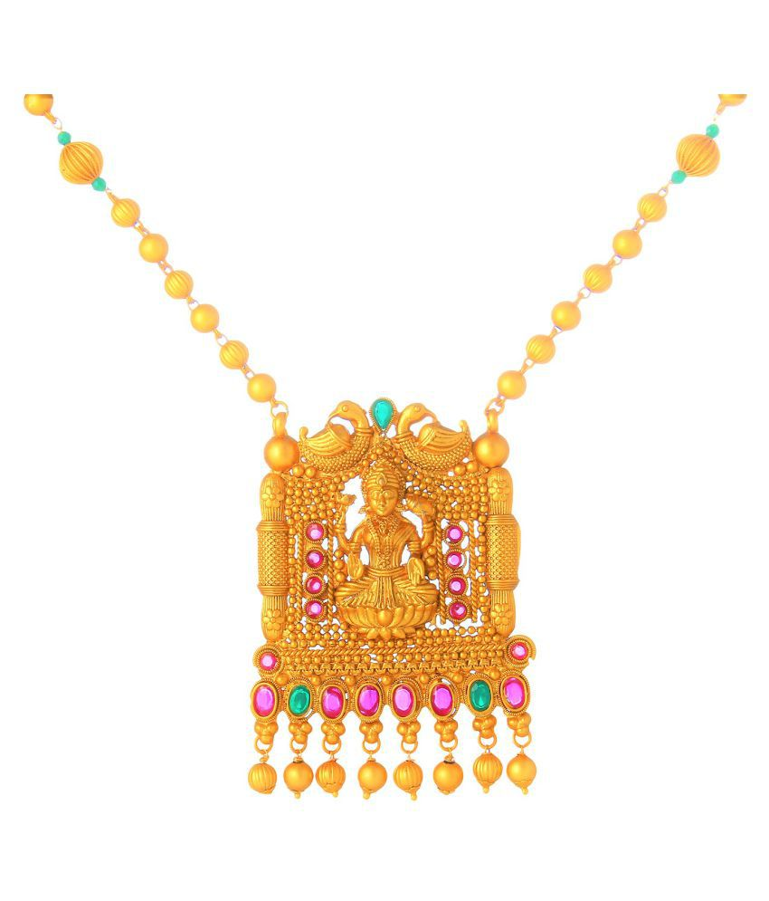 Darshini Designs Alloy Golden Long Haram Traditional Gold Plated Necklaces Set
