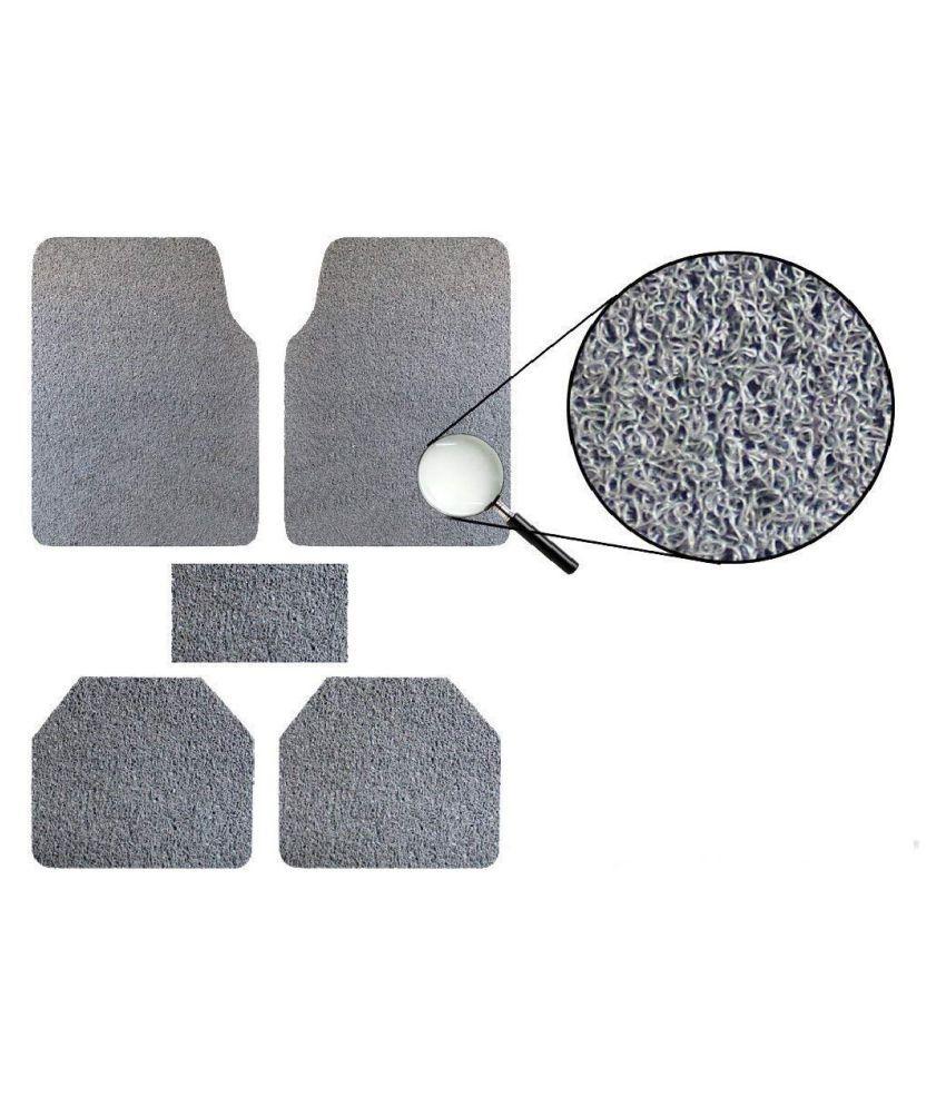Autofetch Car Anti Slip Noodle Floor Mats (Set of 5) Grey for Mahindra XUV500 [2013-2015]