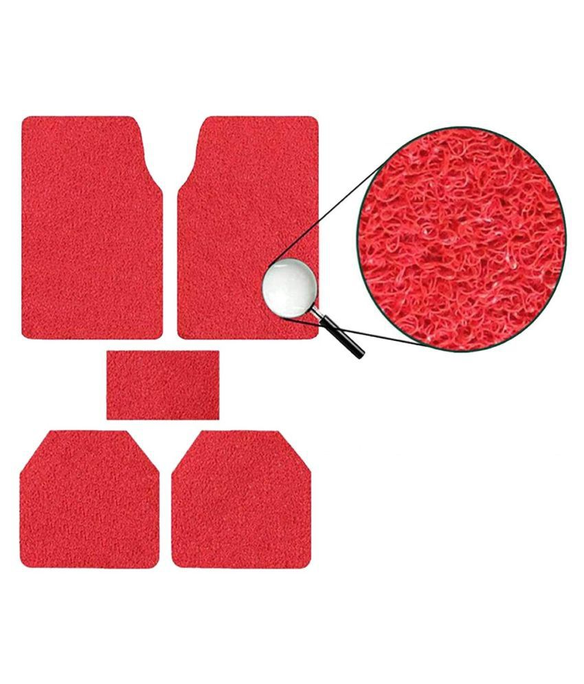 Autofetch Car Anti Slip Noodle Floor Mats (Set of 5) Red for Toyota Qualis [2002-2004]