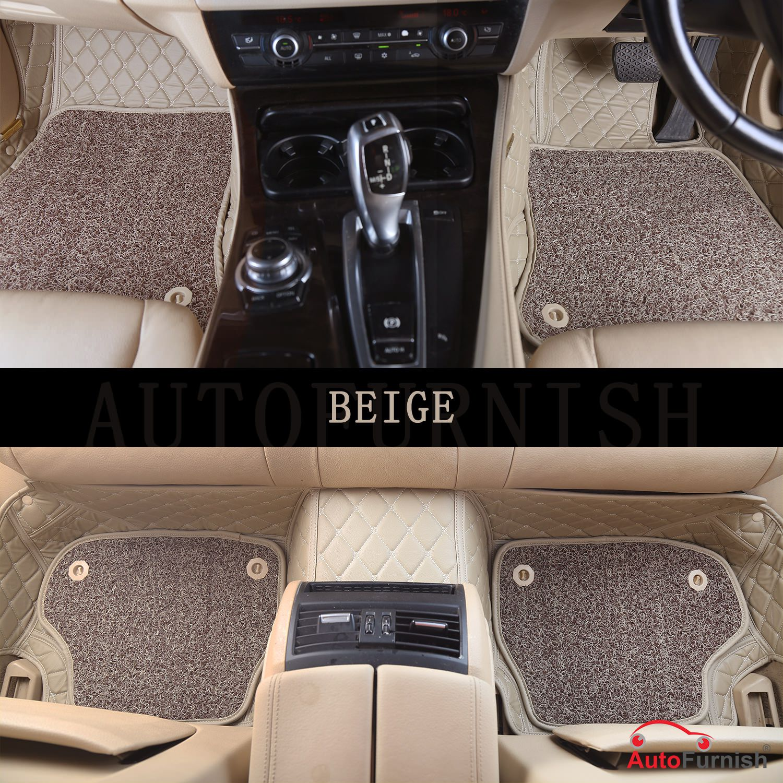 Autofurnish 7D Luxury Custom Fitted Car Mats For Mahindra Marazzo (8 Seater) - Beige
