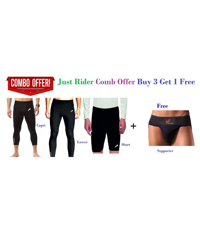 Just Rider Combo Offer Compression Lower, Capri, Shorts, Supporter Free, Gym Tight, Cycling Tight, Yoga Pant, Jogging Tights