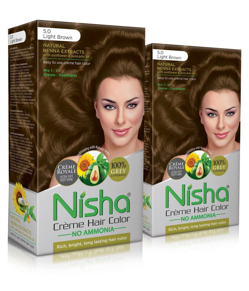 Nisha (60gm, 60ml, 12ml) Cream Permanent Hair Color Light Brown Light Brown 5 120 mL Pack of 2