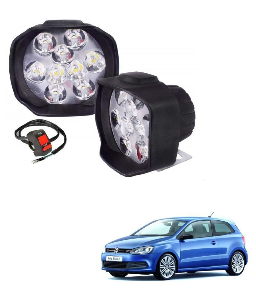 Auto Addict 9 LED 16W Anti-Fog Spot Light Auxiliary Headlight with Switch Set of 2 Pcs For Volkswagen Polo GT