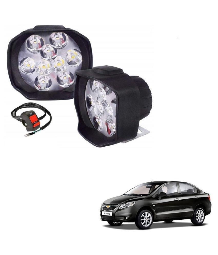 Auto Addict 9 LED 16W Anti-Fog Spot Light Auxiliary Headlight with Switch Set of 2 Pcs For Chevrolet Sail