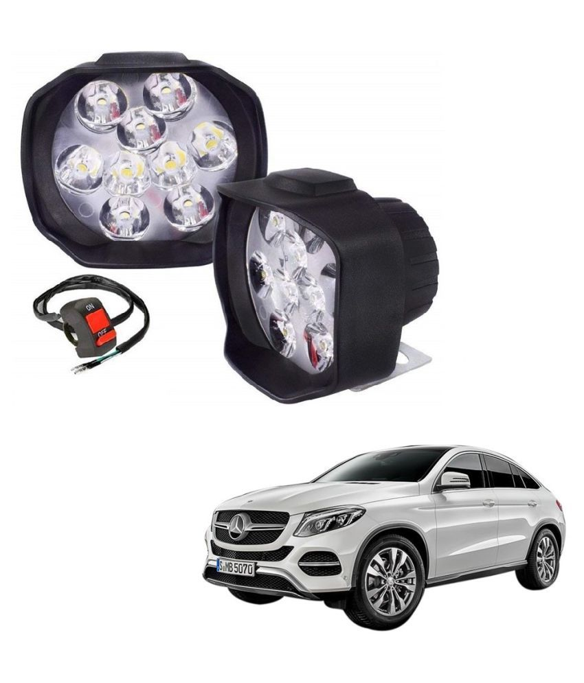 Auto Addict 9 LED 16W Anti-Fog Spot Light Auxiliary Headlight with Switch Set of 2 Pcs For Mercedes Benz NA