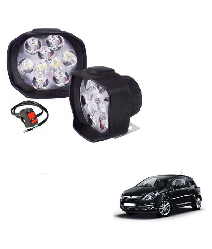 Auto Addict 9 LED 16W Anti-Fog Spot Light Auxiliary Headlight with Switch Set of 2 Pcs For Opel Corsa