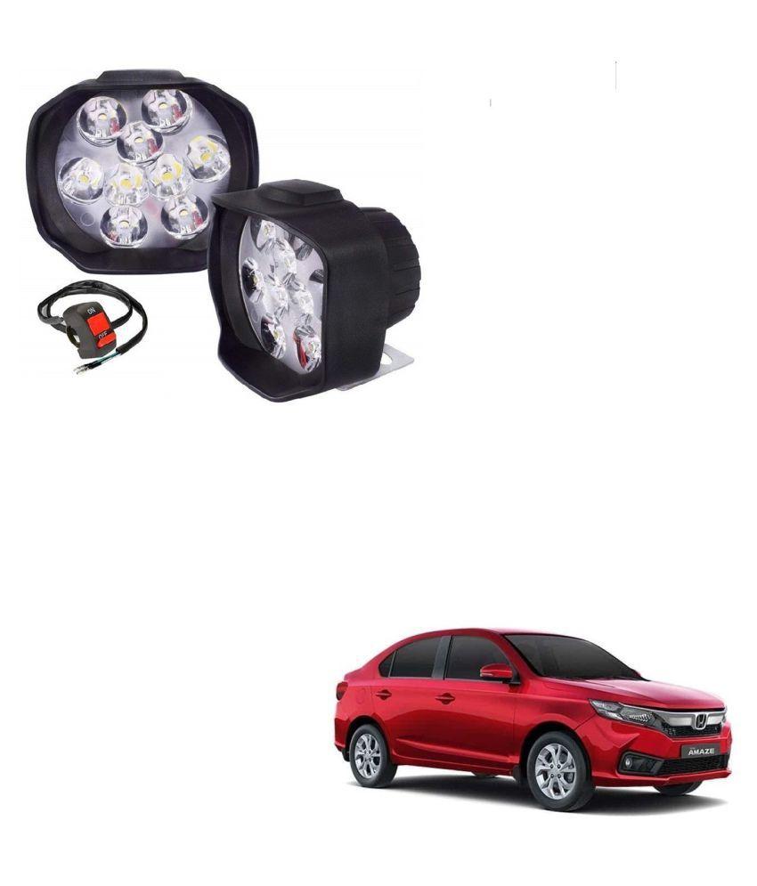 Auto Addict 9 LED 16W Anti-Fog Spot Light Auxiliary Headlight with Switch Set of 2 Pcs For Honda Amaze New2018