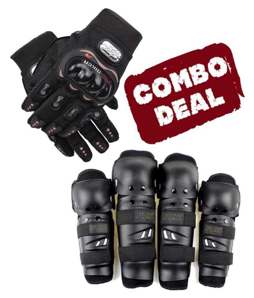 Biker Protective Gear Combo of Fox Elbow Knee Guard & Pro Gloves