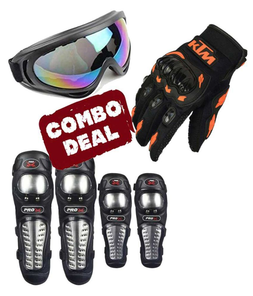 Biker Protective Gear Combo of Pro X Elbow Knee Guard Goggle & KTM Gloves