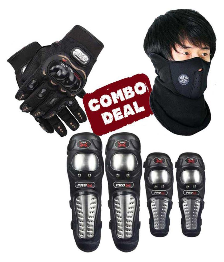 Biker Protective Gear Combo of Pro X Elbow Knee Guard Neoprene & KTM Gloves