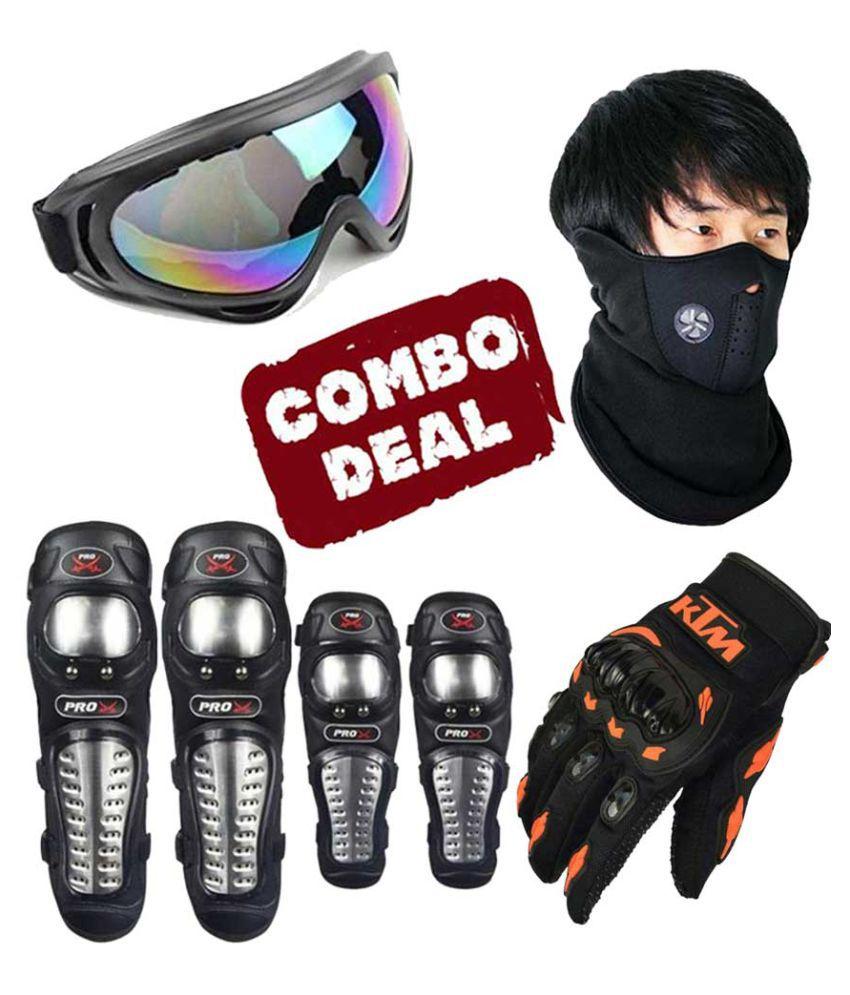 Biker Protective Gear Combo of Pro X Elbow Knee Guard Neoprene Goggle & KTM Gloves