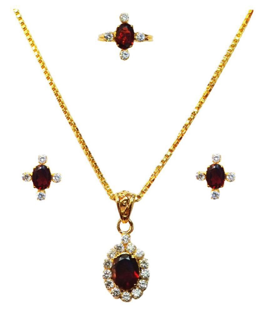 Vinayak Semiprecious Gems Jewel Set(Garnet) with Chain