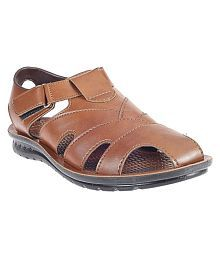 Khadim's Brown Synthetic Leather Sandals
