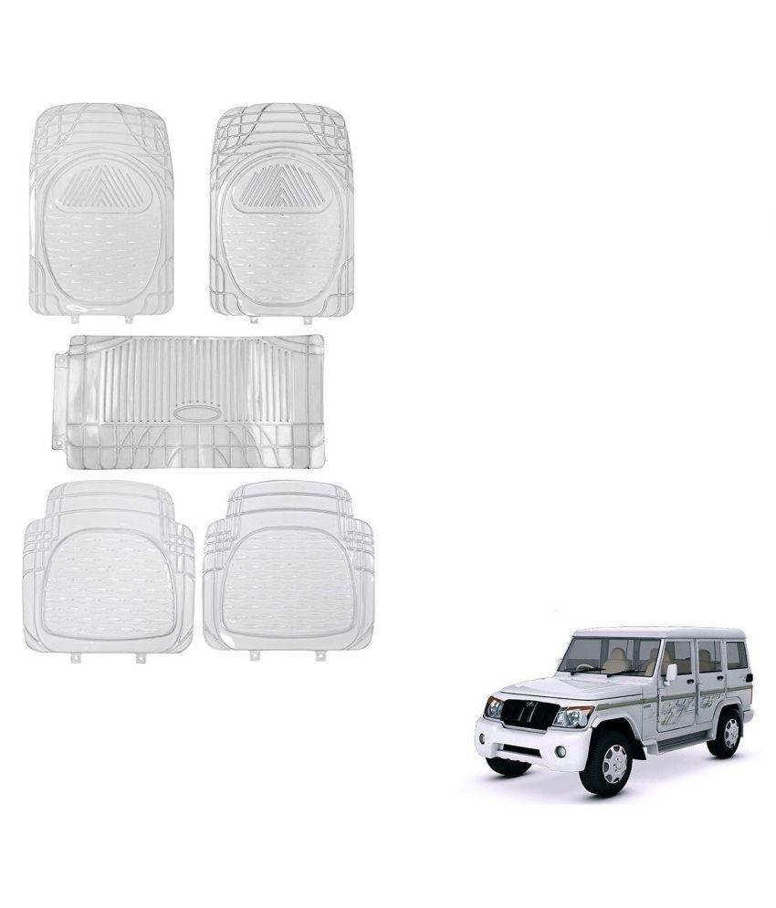 Auto Addict Car Rubber PVC Car Mat 6205 Foot Mats Clear Color Set of 5 pcs For Mahindra Bolero XL