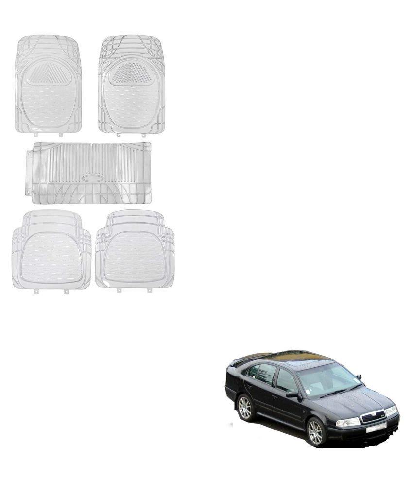 Auto Addict Car Rubber PVC Car Mat 6205 Foot Mats Clear Color Set of 5 pcs For Skoda Old Octavia
