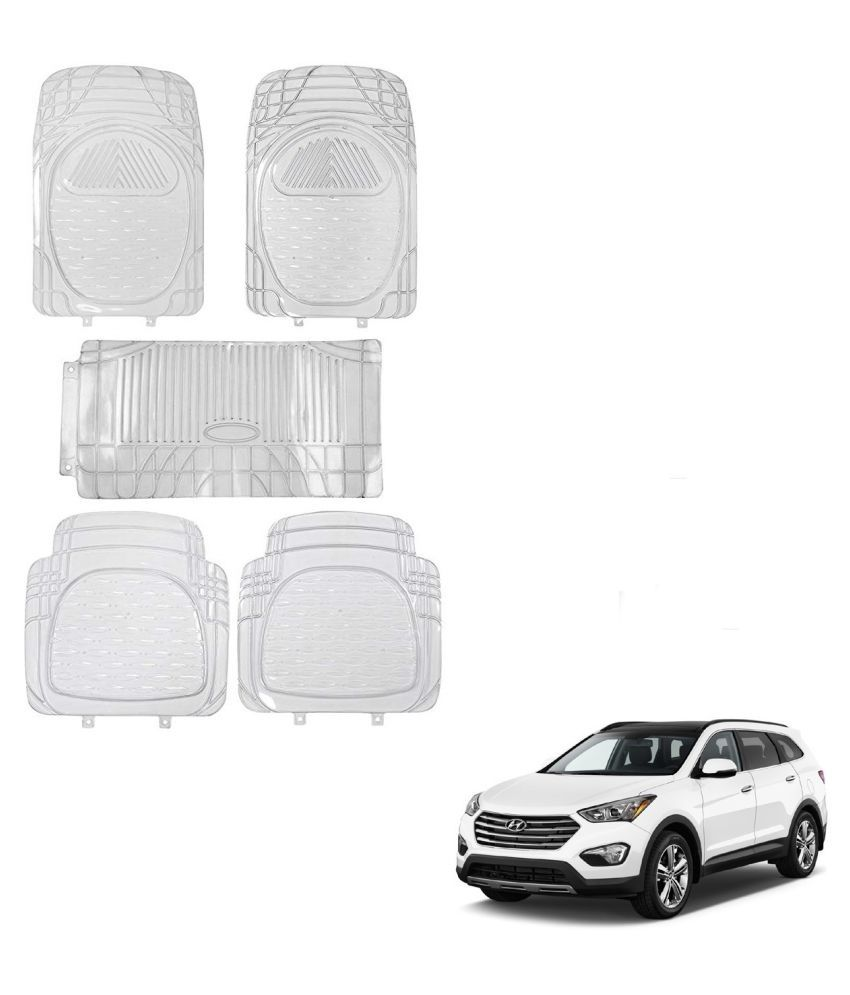 Auto Addict Car Rubber PVC Car Mat 6205 Foot Mats Clear Color Set of 5 pcs For Hyundai SantaFe