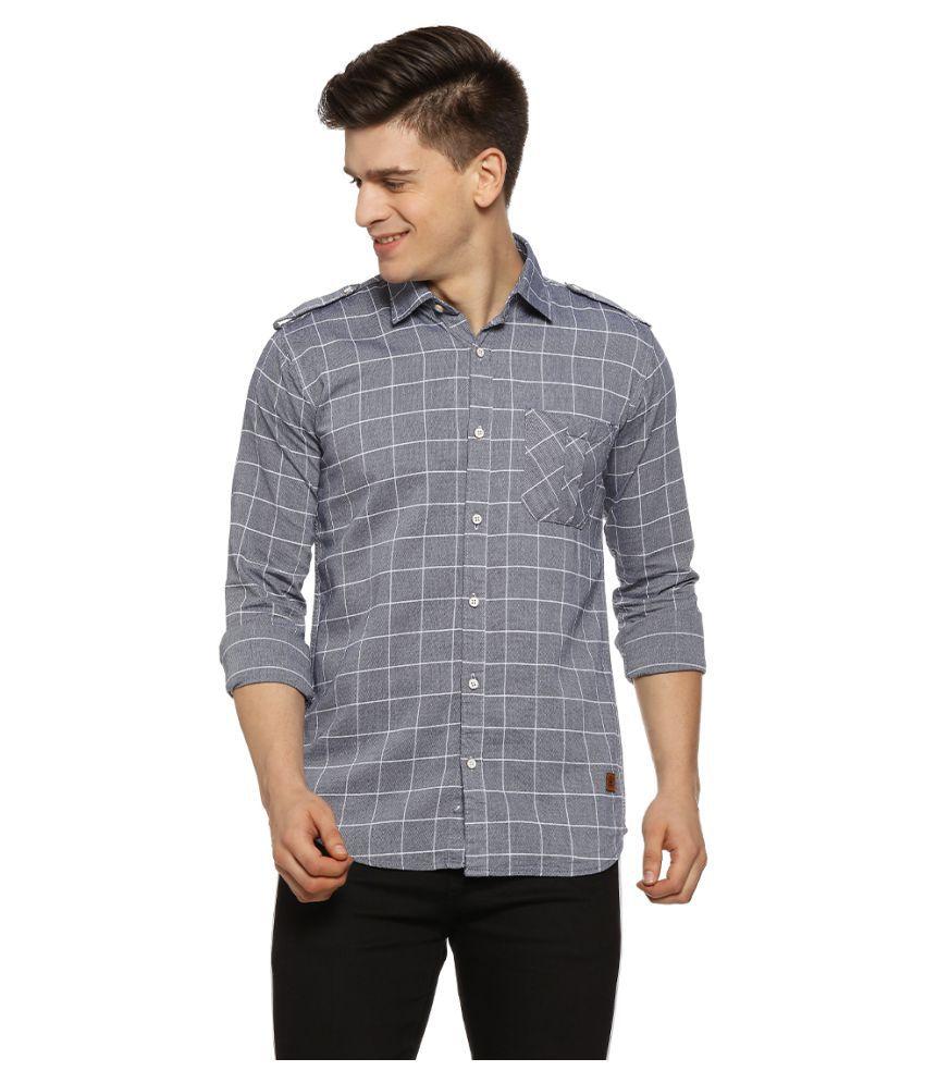 Campus Sutra 100 Percent Cotton Grey Checks Shirt