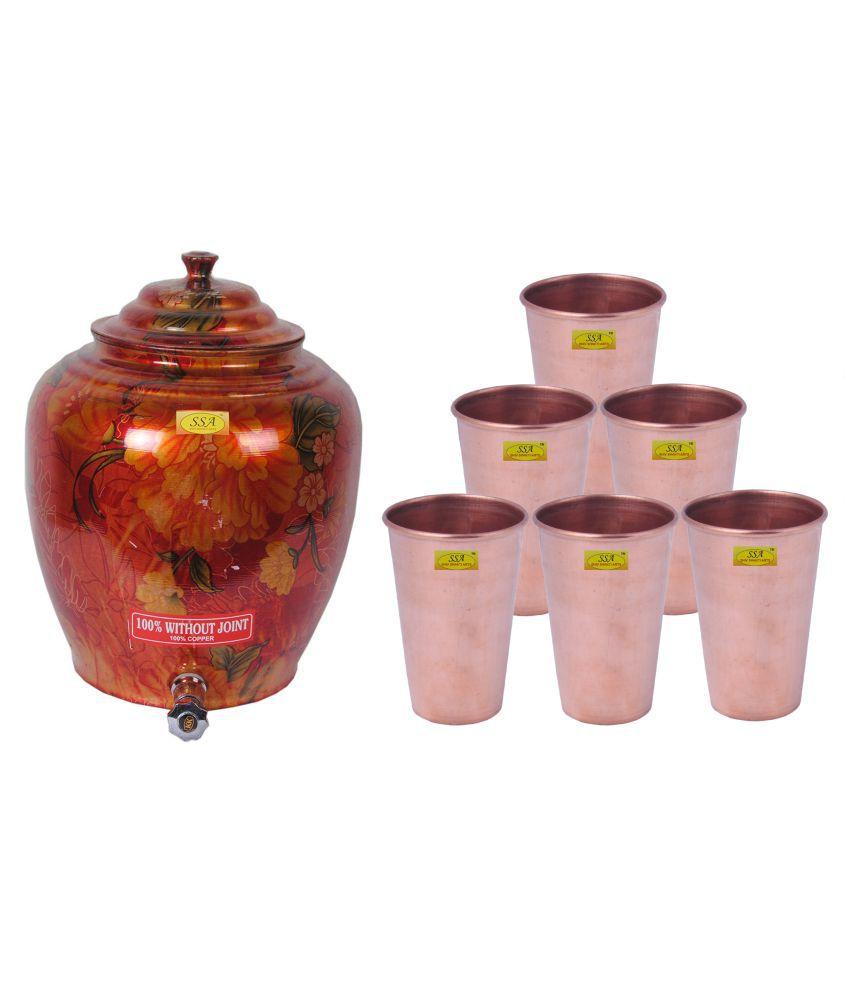 Shiv Shakti Arts Copper Drinkware Pot 6 Pcs Lemon set