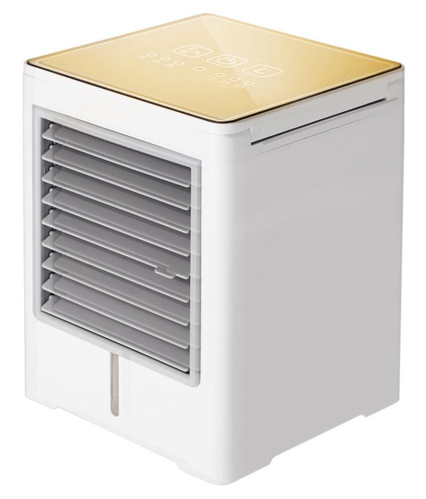Touch Timing Mini Air Cooler, USB Portable Personal Air Conditioning Humidifier Three-speed Adjustable, Bedroom Home (Color : Gold)