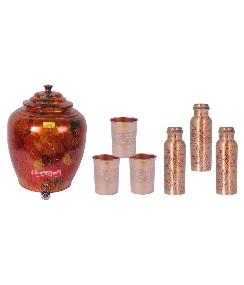 Shiv Shakti Arts Copper Drinkware Pot 7 Pcs Lemon set