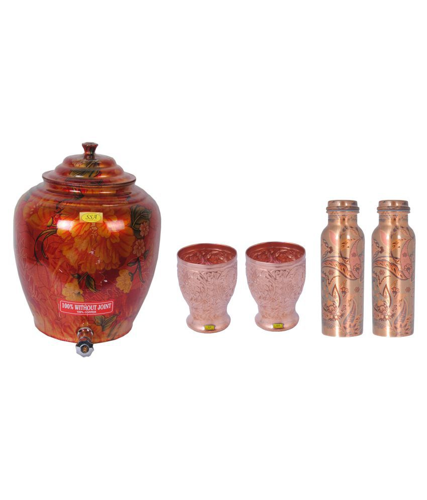 Shiv Shakti Arts Copper Drinkware Pot 5 Pcs Lemon set