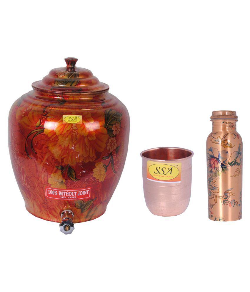 Shiv Shakti Arts Copper Drinkware Pot 3 Pcs Lemon set