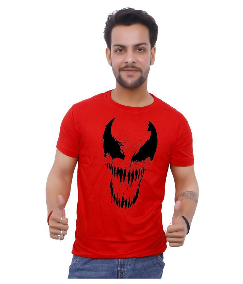 Upperwear 100 Percent Cotton Red Printed T-Shirt