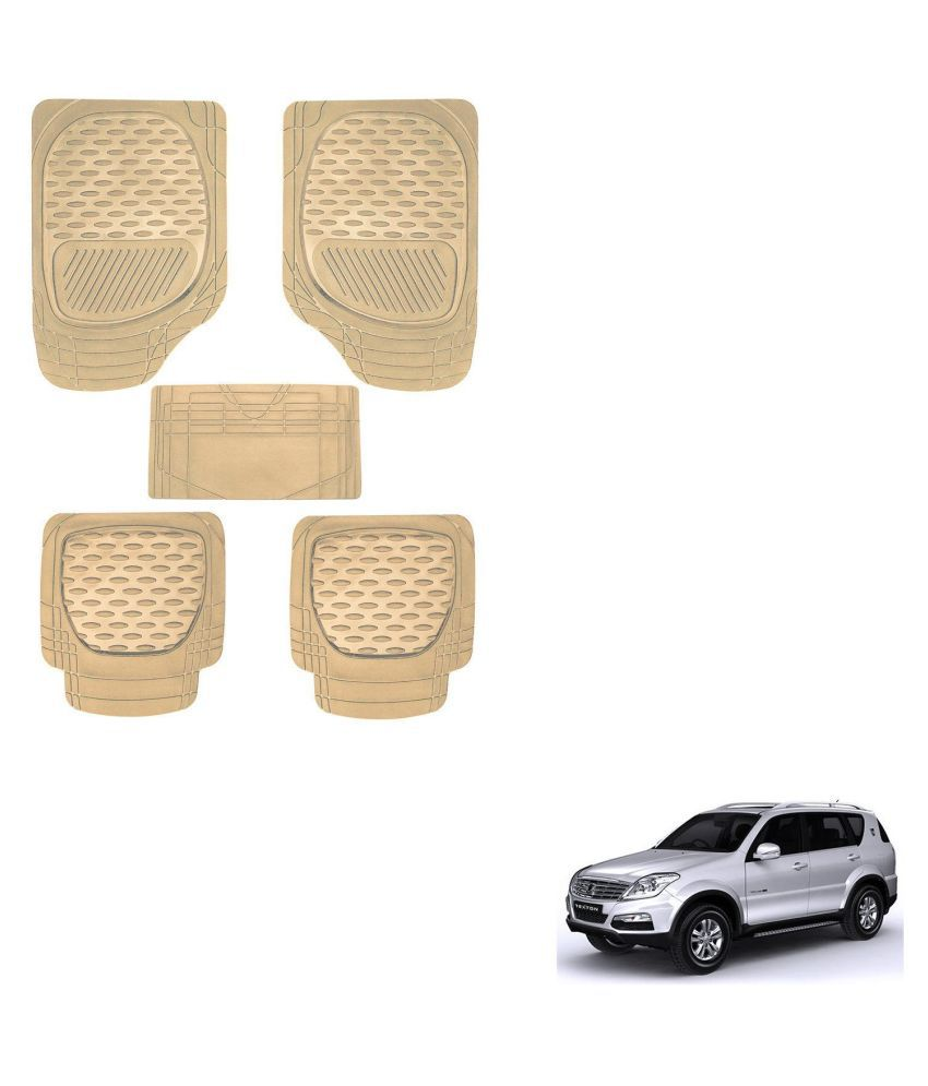 Auto Addict Car 6255 TW Rubber PVC Heavy Mats Beige Color Set Of 5 Pcs For Mahindra Rexton