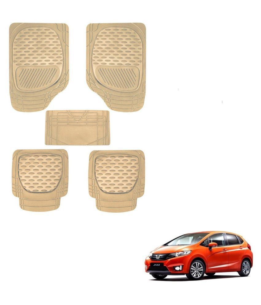 Auto Addict Car 6255 TW Rubber PVC Heavy Mats Beige Color Set Of 5 Pcs For Honda New Jazz