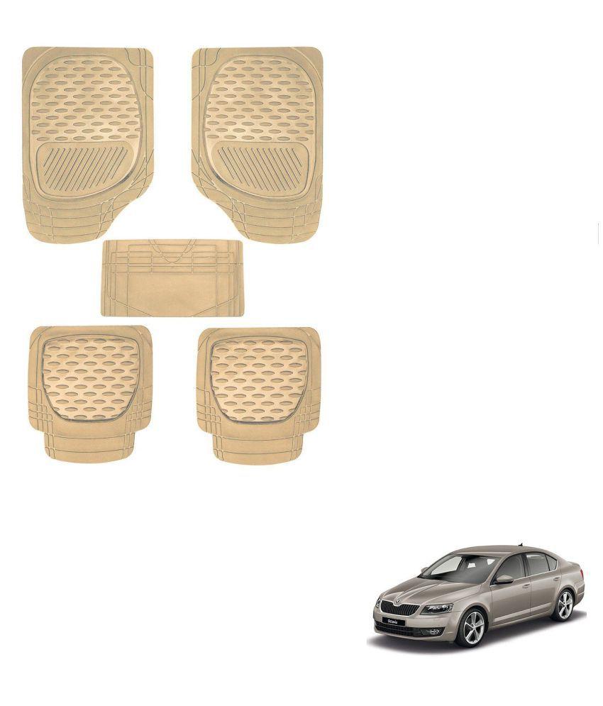 Auto Addict Car 6255 TW Rubber PVC Heavy Mats Beige Color Set Of 5 Pcs For Skoda New Octavia (2013-Present)