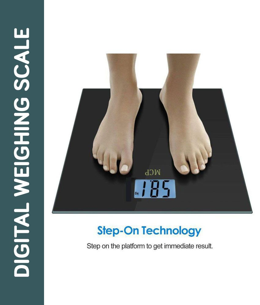 MCP Digital Weight Machine for human body with Advanced Step on Technology Black Weighing Scale