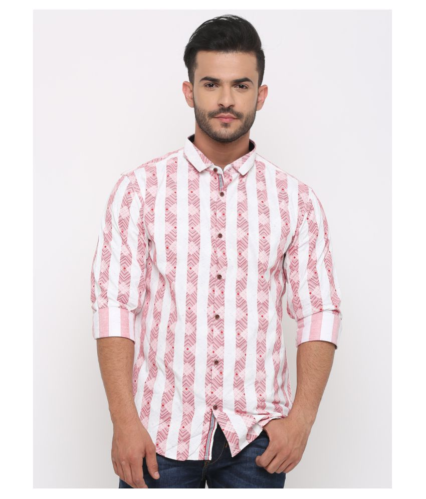WITH 100 Percent Cotton Red Prints Shirt