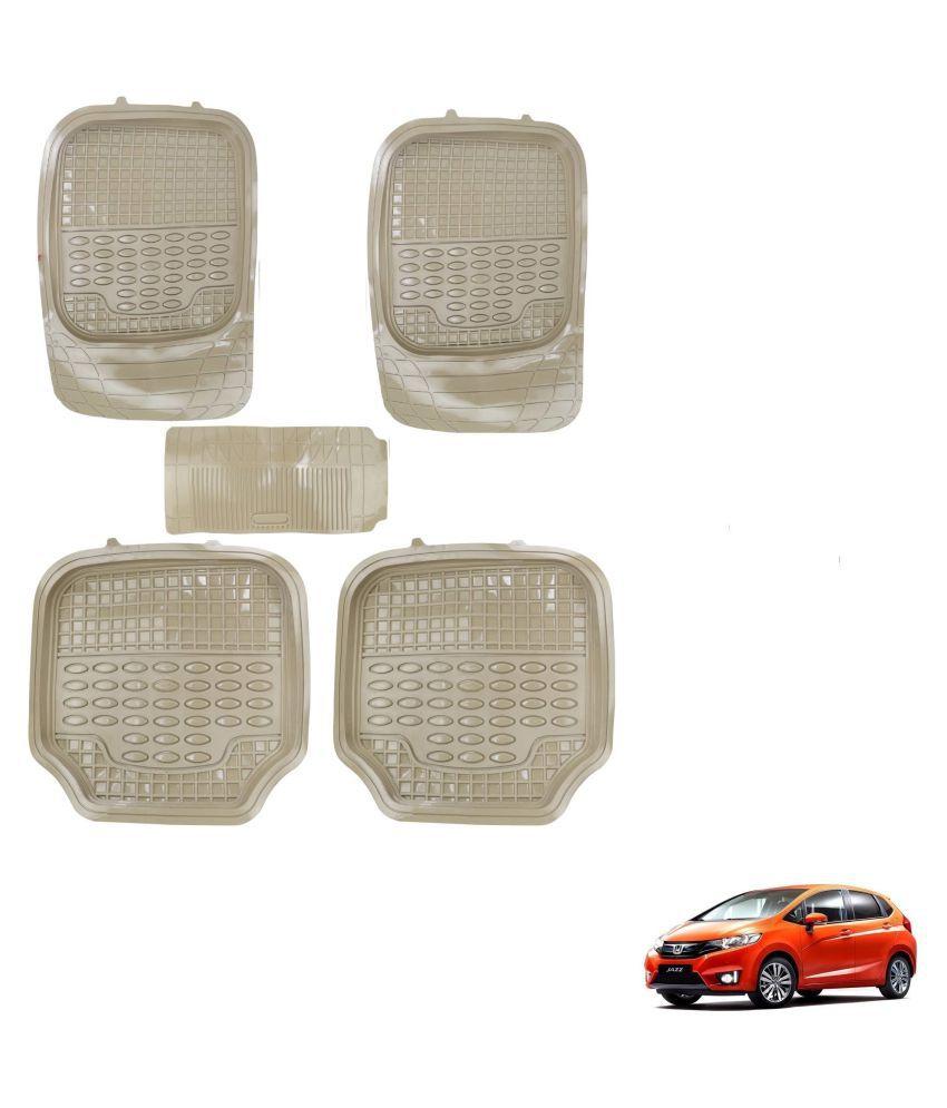 Auto Addict Car 4G Beige Rubber PVC Heavy Mats Set Of 5 Pcs For Honda New Jazz