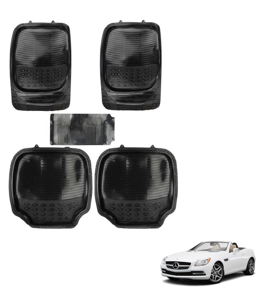 Auto Addict Car 4G Black Rubber PVC Heavy Mats Set Of 5 Pcs For Mercedes Benz SLK-Class