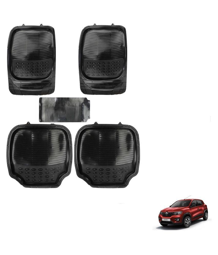 Auto Addict Car 4G Black Rubber PVC Heavy Mats Set Of 5 Pcs For Renault Kwid