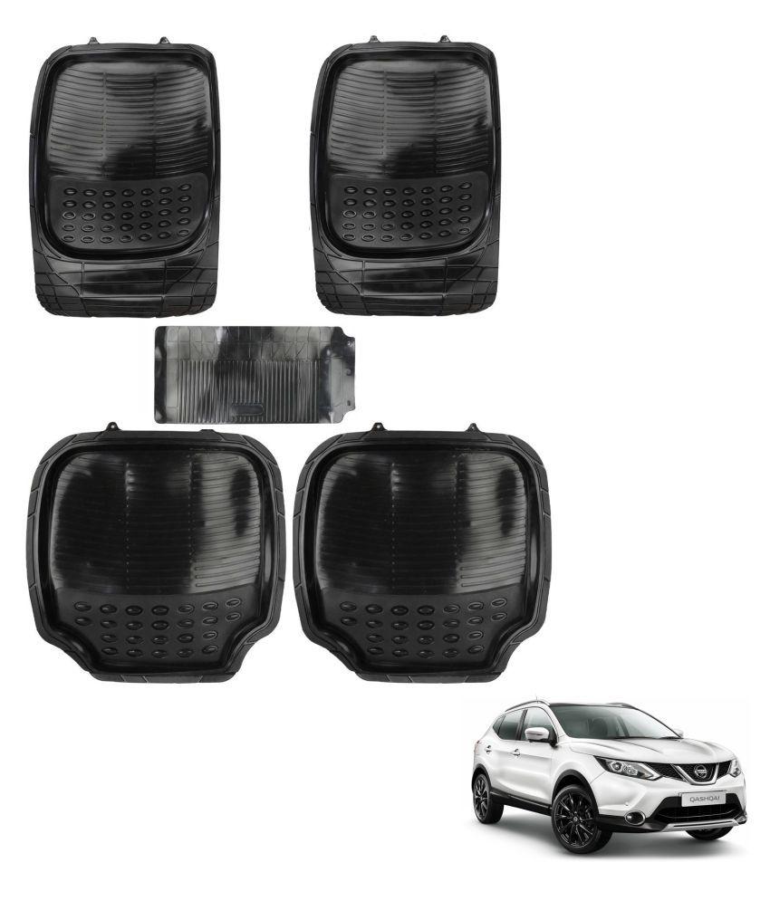 Auto Addict Car 4G Black Rubber PVC Heavy Mats Set Of 5 Pcs For Nissan Qashqai