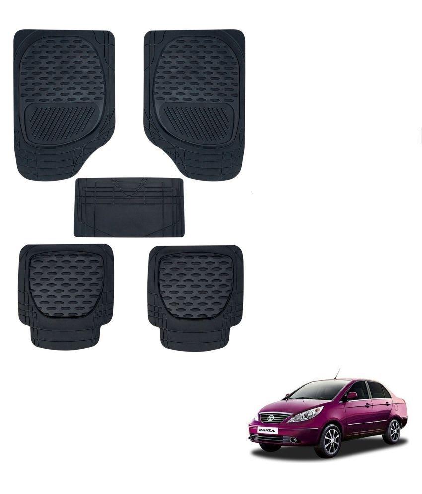 Auto Addict Car 6255 TW Rubber PVC Heavy Mats Black Color Set Of 5 Pcs For Tata Manza