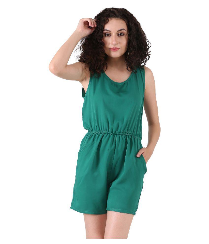 Triraj Green Rayon Jumpsuit