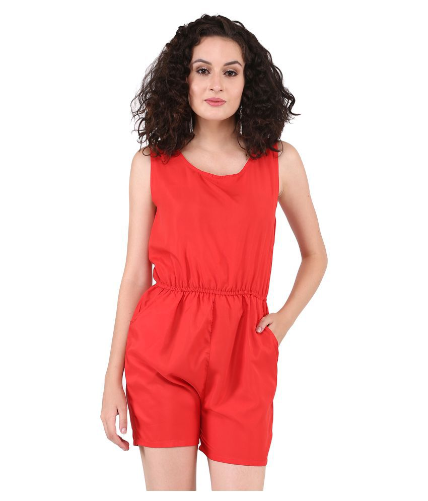 Triraj Red Rayon Jumpsuit